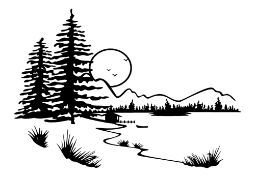 landscape scenery mountain lake vinyl graphic decal 003